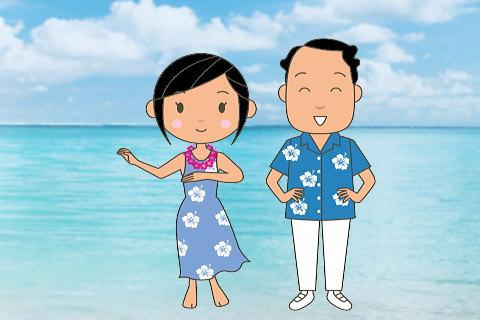 夫婦お揃いのアロハでハワイ旅行