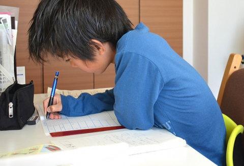 勉強する猫背の男の子